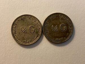 Lot of 2 1947 Curacao 1/4 gulden silver coins, circulated