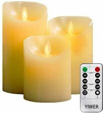Set Of 3 Luminara Flameless Pillar Ivory Candle Moving Wick LED Timer Remote WAX
