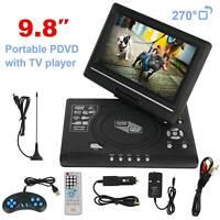 9.8'' Portable HD TV DVD VCD CD Player LCD 270° Rotation Screen Mini Home Cinema