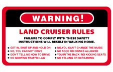 Warning Land Cruiser Rules Series 4WD 4x4 Vehicles Decal Stickers