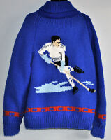 WOOL BLUE HOCKEY PLAYER on Back Zip-up COWICHAN HAND KNIT Coat Sweater XL-2XL