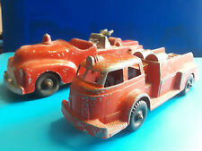 Vtg Collectible Hubley Lot Of 2 Metal Fire Truck Ladder Truck Red #463 And #402