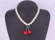 Collier perles cerises rouges bijou pinup pin-up retro vintage inspired