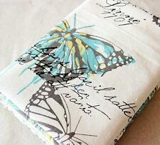 Blue Butterfly Cotton Linen Fabric tablecloth DIY Throw Pillow Cloth 50x150cm