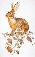 Easter Mad March Hare Fair Feather Illustrator Designer 100% Linen Tea Towel