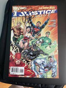 DC Comics New 52 Justice League #1 Signed 2x Geoff Johns Jim Lee OOP rare