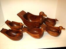 Vintage Lot Wooden Wood Carved Duck Salad Soup Bowl Set 1 Large 5 med RARE Bird