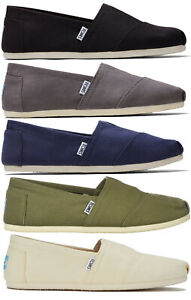 TOMS Mens Classic Canvas Slip On Shoes Black/Cream/Blue/Green/Grey/Red New