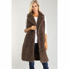 Boutique Long Faux Fur Vest New Brown Teddy Coat Snap Front FALL FAVE