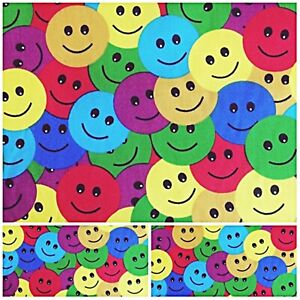 Polycotton Fabric Crafts COLOURFULL HAPPY FACES EMOJI Metre Material