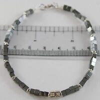 Armband Giadan 925 Silber Hämatit Achat und Weiße Diamanten Made in Italy