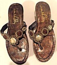 Sam and Libby Dear Me Cork Wedge Thong Sandals Abelone Shells Glass Beads Sz 7.5