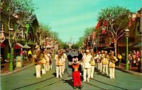 Disneyland Postcard Mickey Mouse and Disneyland Band on Main Street Anaheim CA