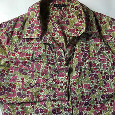 Theory Womens Pearl Snap Button Down 3/4 Sleeves Shirt Blouse Top M