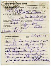 ALGERIA 1943 POW French/ Italian bilingual card to Bari Italy  - French censor