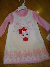 Bonnie Baby Reindeer Sweater Dress Pink Christmas 2-Piece Girl's Size 18 Months