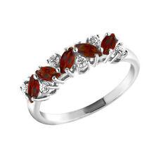 MIRKADA Damen 925 Silber Ring mit Granat und Zirkonia, rot, Gr. 52 *NEU*
