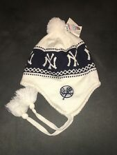 Twins Enterprise NY Yankees Flaps Beanie Strings White Navy Blue Winter Hat