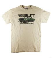 1968 Bullitt Steve McQueen Mustang Classic Vintage Retro Print Natural T-shirt