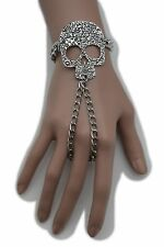 New Women Silver Metal Slave Ring Bracelet Hand Chain Skeleton Skull Bone Pirate