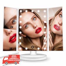 specchio da trucco illuminato con luce a led portatile make up 21 led pieghevole