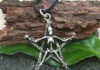 Pentagrama Grande Con Esqueleto Amuleto Colgante Plata 925 macizo