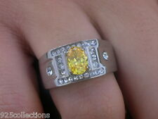8 x 6 mm 316 Stainless Steel November Yellow Citrine CZ Stone Men's Ring Size 10