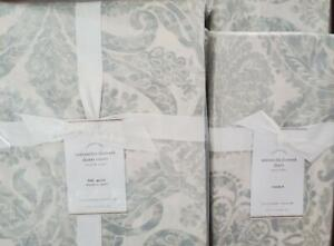 Pottery Barn Samantha FULL/QUEEN Duvet/2 Standard Shams ~ PORCELAIN BLUE ~ NEW
