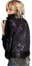 NEW WOMEN'S FREE PEOPLE MUUBAA AZTEC BLACK LEATHER EMBROIDERED JACKET SIZE 4