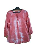 VALENTINA'S BLOUSE SIZE L CAMOUFLAGE PINK COTTON 3/4 SLEEVE V NECK MADE IN ITALY