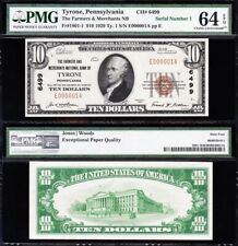 "Amazing *RARE* VCH/UNC ""SERIAL No. 1"" 1929 $10 TYRONE, PA National! PMG 64 EPQ!"