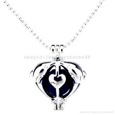 L14 Bright Silver Lovers' Dolphin Locket Necklace Stone Cage Perfume Pendant