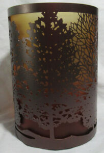 Yankee Candle Large Jar Holder TREES ombre cozy orange to yellow glass & metal