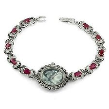 Sterling Silver 925 Lovely Gemset Oval Pink Ruby and Marcasite Watch 71/2 Inches