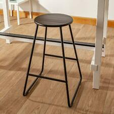 2 x Bar Stools Wooden Bar Stool Modern Design Kitchen Living Room - Black/Black