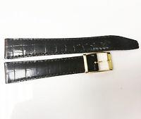 Vintage Bulova Accutron 17mm Alligator Stitch Brown Leather Band Gold Buckle NOS