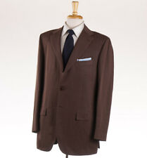 NWT $7295 KITON Chocolate Brown Twill Linen-Cotton Suit 38 R (Eu 48) Classic-Fit