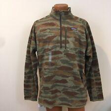 Patagonia Men's Better Sweater 1/4 Zip Fleece Pullover Green Camo XXL 2XL NWT