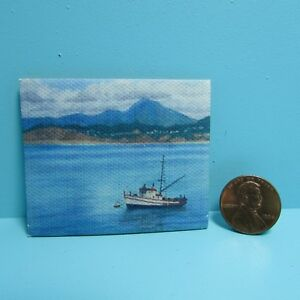 Dollhouse Miniature Canvas Picture of Fishing Boat with Mountains G7961
