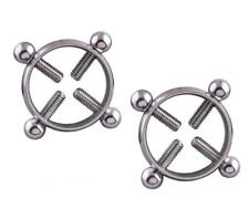 Shield body piercing jewelry Nicke 1Pair Titanium Round Non-Piercing Nipple Ring