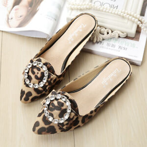 Womens Flat Rhinestones Pointed Toe Slippers Sandals Slip On Loafers Sexy Shoes