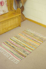 ❤️ Multi Colour Cotton Rag Rug 60 x 90cm Hand Made Chindi Shabby Scandi Chic
