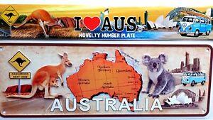 Australia Souvenir Metal Licence Number Plate Kangaroo Koala Map NEW gift idea