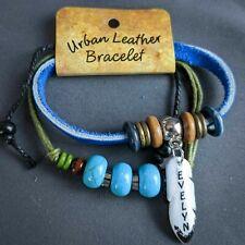 Evelyn Wrap Bracelet Leather Personalized Name Boho Faux Turquoise Beads
