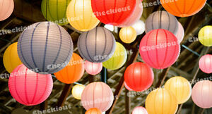 2x 5x 10x Round Color Paper Lanterns + LED Light Wedding Party Decoration Supply