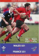Le Pays de Galles V FRANCE sous 21 rugby programme 6 MAR 2004, Neath