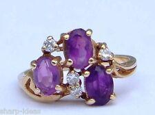 Ladies Amethyst Cluster Ring w/ 4 Round Diamonds -  10k Yellow Gold