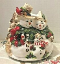 Home Interiors Festive Snowman Family Christmas Ceramic Candle Shade Topper