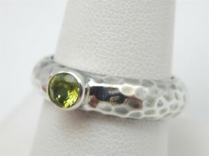SILPADA HAMMERED BAND .50 CARAT ROUND BEZEL SET PERIDOT SOLITAIRE RING SIZE 8.75