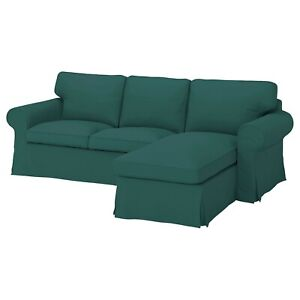 IKEA UPPLAND Cover for Sofa w/ Chaise Slipcover Totebo Dark Turquoise Green NEW!